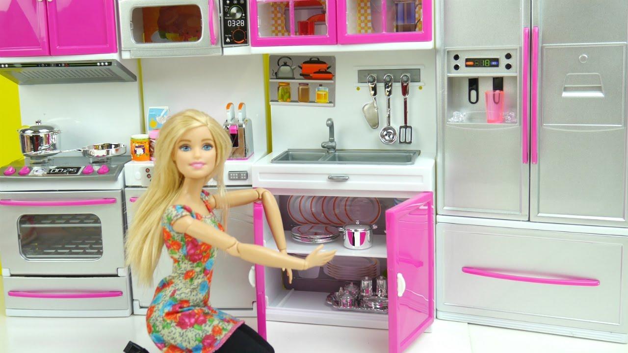 e271226351ee6 مطبخ باربي الجديد ألعاب بنات جولة في المطبخ Barbie kitchen Toy doll play set