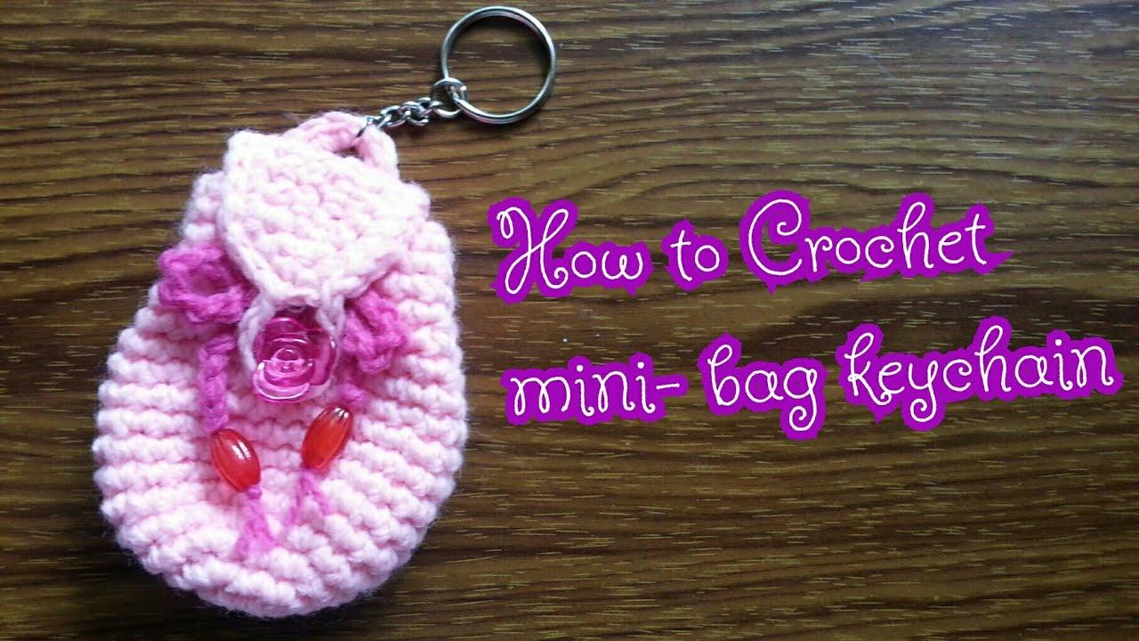 How to Crochet Mini back pack Keychain - YouTube 994b5896a