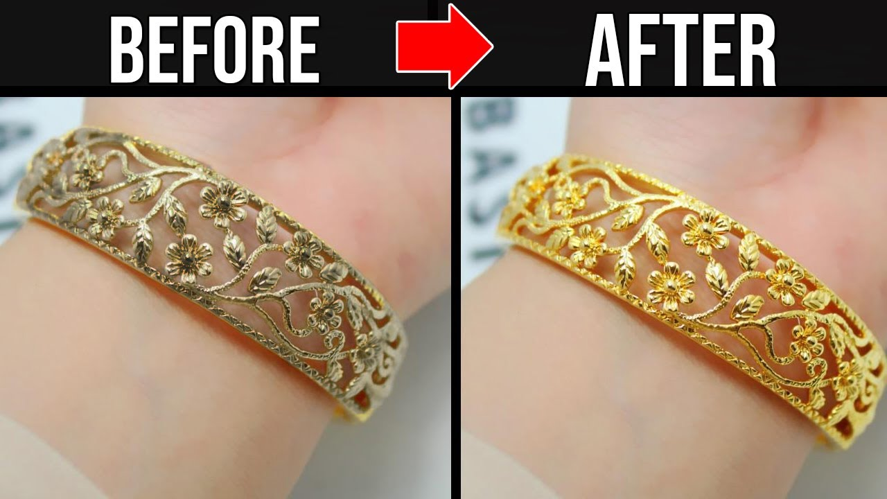 How To Clean Polish Gold Jewelry At Home Shiny Gold Youtube