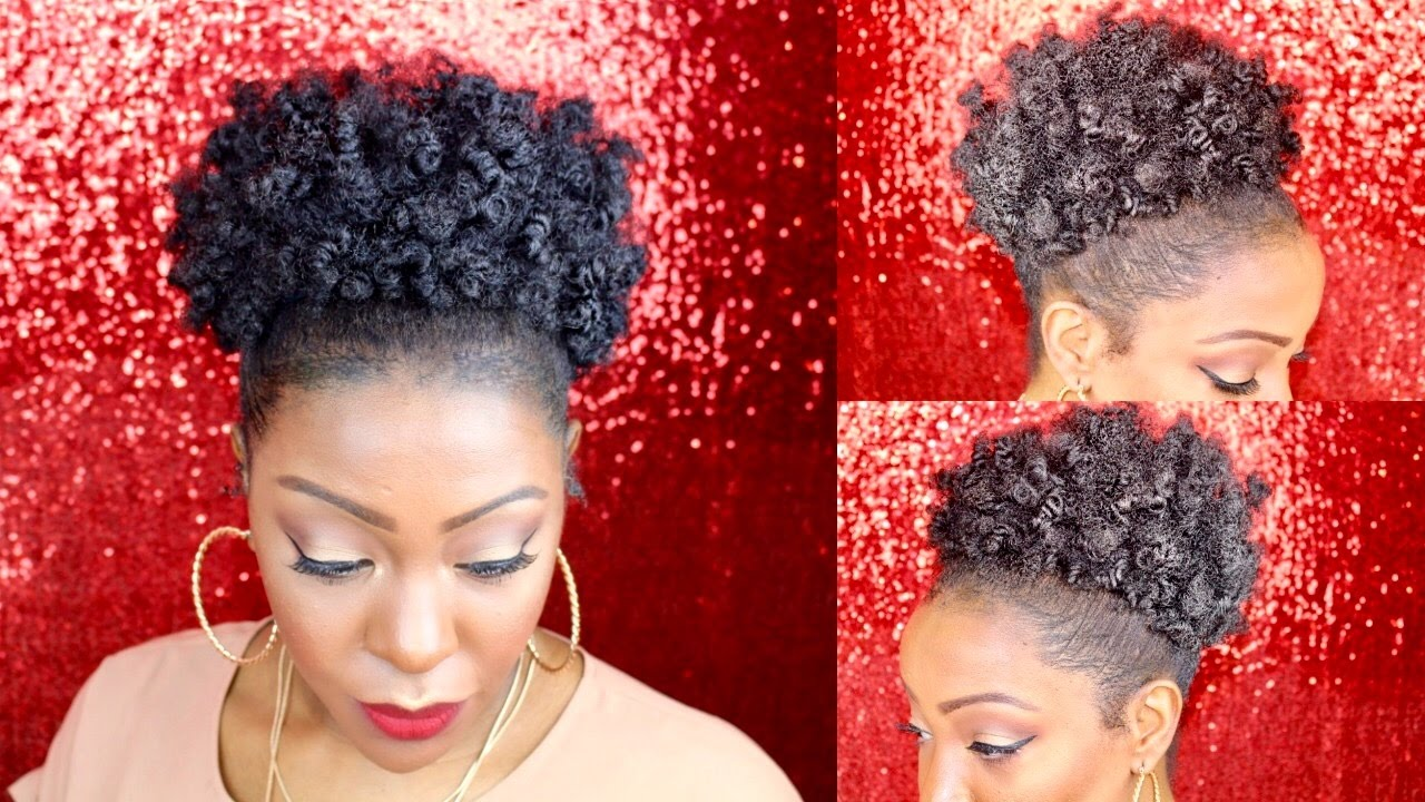 natural hair high puff tutorial-bantu