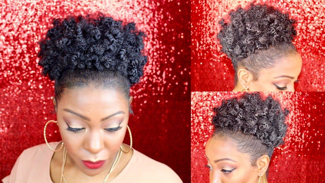 Natural Hair High Puff Tutorial Bantu Knots 4c Youtube