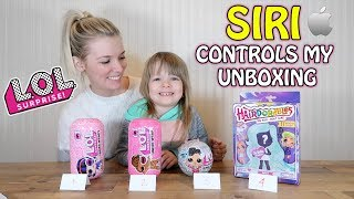 SIRI CONTROLS WHICH TOY TO UNBOX! L.O.L. SURPRISE UNDER WRAPS, BLING SERIES, OR HAIRDORABLES!?
