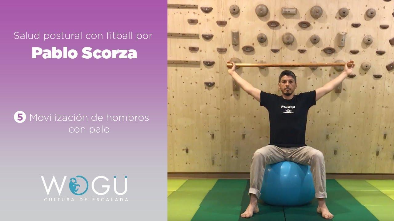 Salud postural con fitball por Pablo Scorza   #5 Movilización de hombros con palo