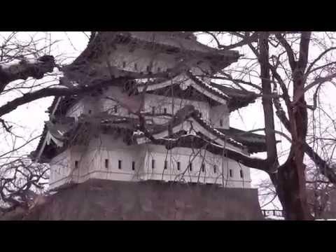 Hirosaki castle in Aomori Prefecture where snow was piled up