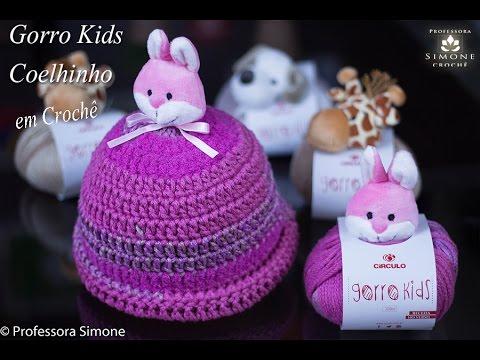 5019baaaf7f5a Gorro   Touca Kids Crochê Coelhinho - Professora Simone - YouTube
