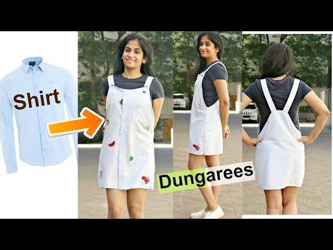DIY: Convert Men's Shirts to Dungarees | Recycle Old Long Sleeve Shirts