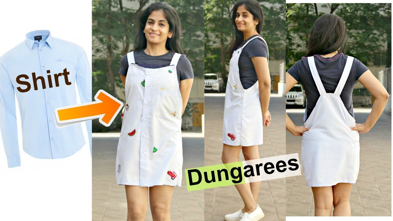 DIY Convert Menu0026#39;s Shirts to Dungarees | Recycle Old Long Sleeve Shirts - YouTube