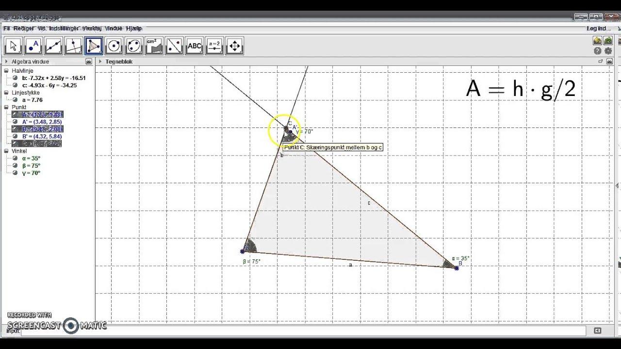 Areal af trekant i geogebra