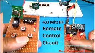 RF Remote Control Circuit Using 433 Mhz Module and HT12E Encoder and HT12D Decoder IC by Manmohan