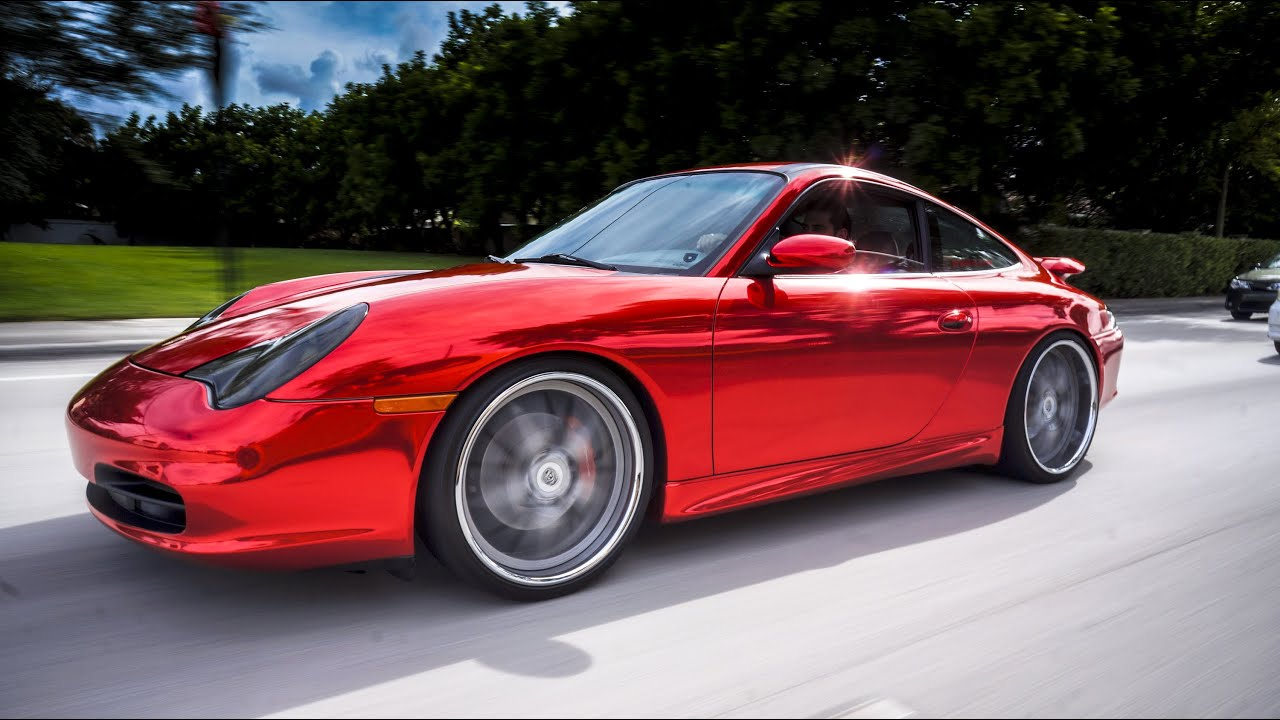 Car Wrap Vinyl >> Porsche 911 Carrera Red Chrome vinyl wrap by Florida Car Wrap - YouTube