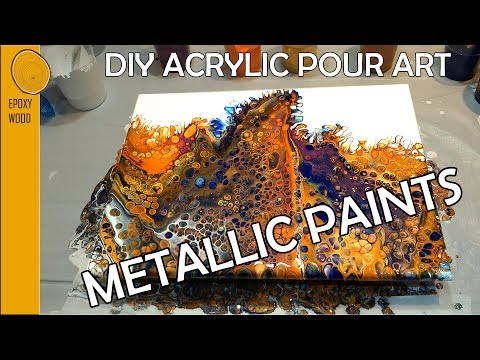 |14| DIY Acrylic Pour with Metallic Paints - Gold and Copper 🥇