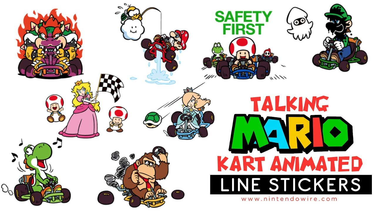 Mario kart animated stickers line sticker showcase