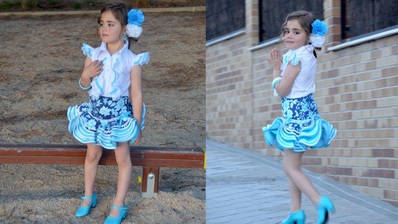 Falda flamenca. Patrones de niña. - YouTube a8dc79b2b44