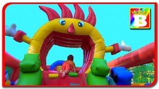 Inflatable Playground Fun for Kids  Pokemon GO! Bouncy Castle Disney with Princess SOFI and Bogdan