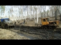 Tractor DT-75 pulls the truck out of the mud Ural 5557 /// Трактор ДТ-75 вытаскивает Урал 5557
