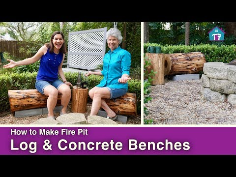 DIY Outdoor Fire Pit Log Benches