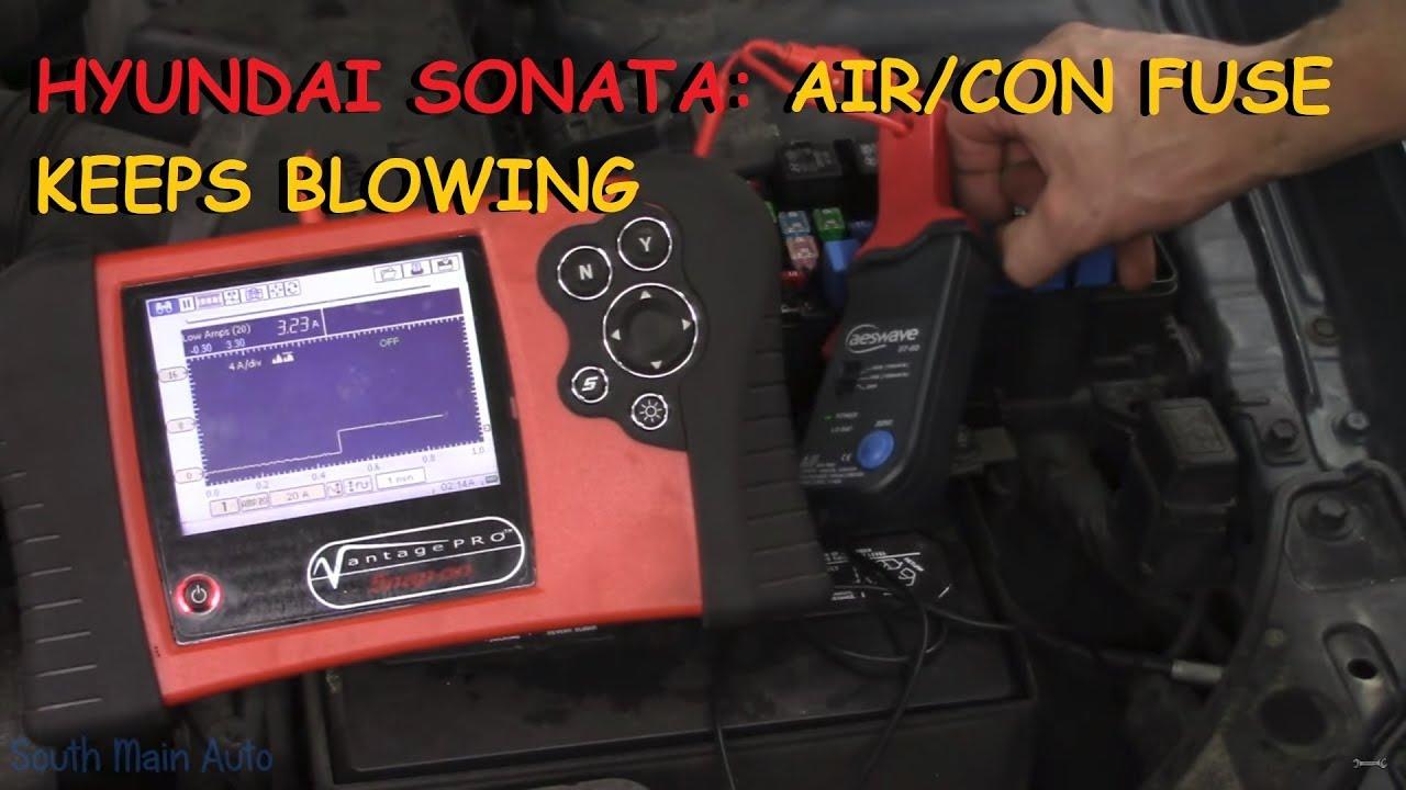 hyundai sonata: keeps blowing a/c fuse