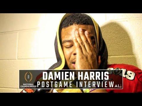 Watch emotional Damien Harris after final Alabama game, loss to Clemson