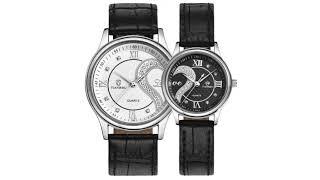1 Pair Tiannbu Ultrathin Leather Romantic Wrist Watches