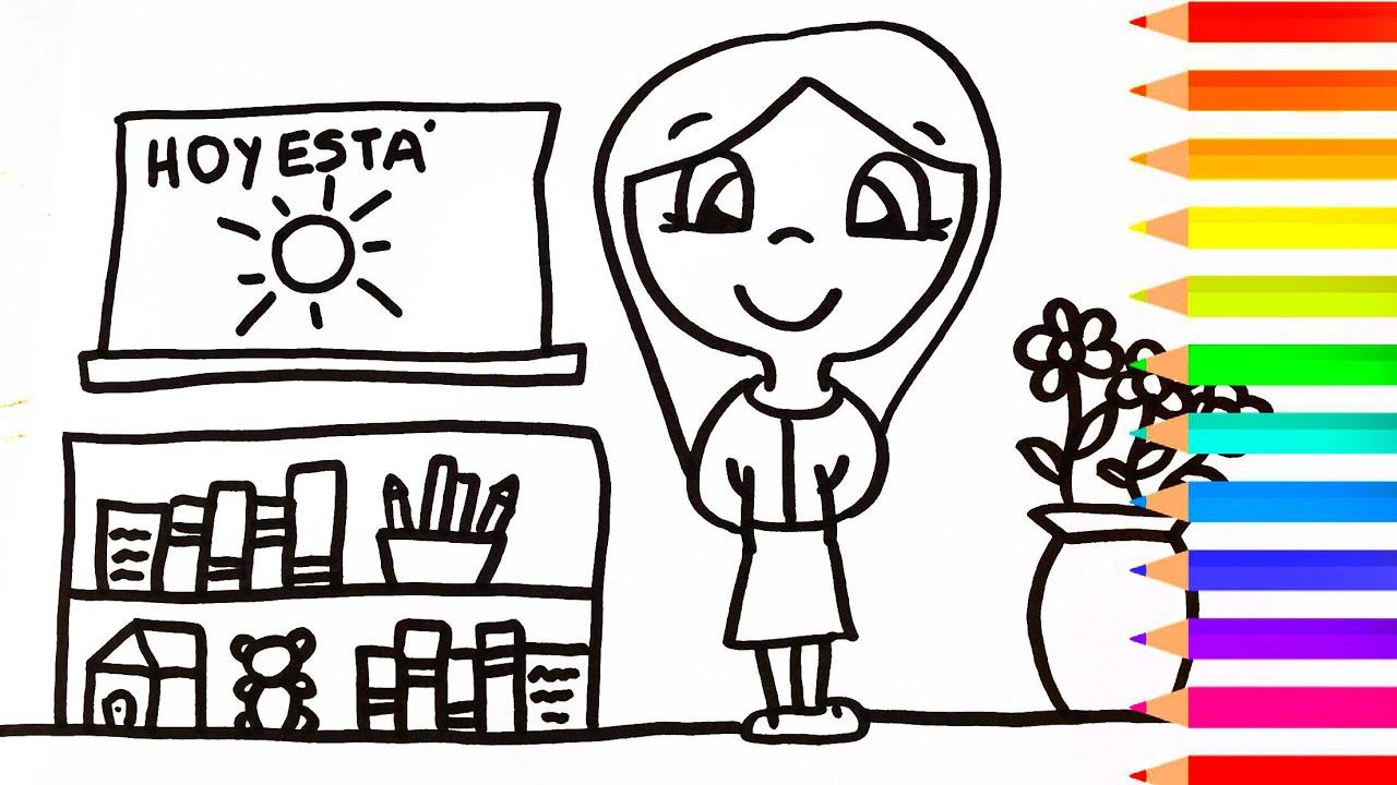 Como Dibujar Una Maestra Para Ninos Dibujo Facil De Maestra Paso