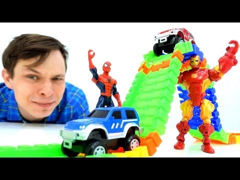 Человек ПАУК и Железный человек. #Гонки машин на трассе Железного человека! #Супергерои и #машинки
