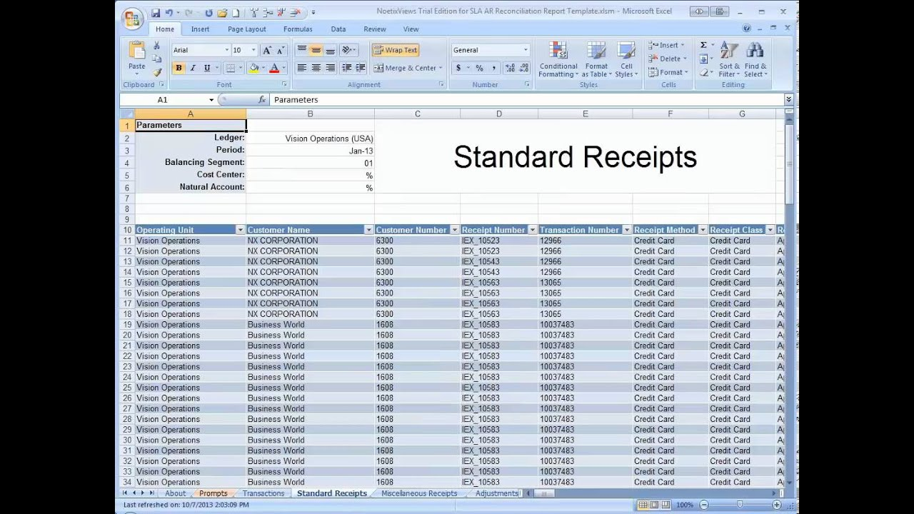 The Receivables Reconciliation Demonstration Spreadsheet