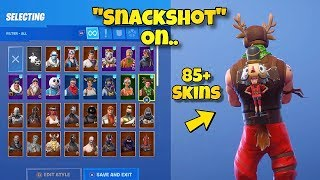 "NEW ""SNACKSHOT"" BACK BLING Showcased With 85+ SKINS! Fortnite Battle Royale - NEW MINI CRACKSHOT"