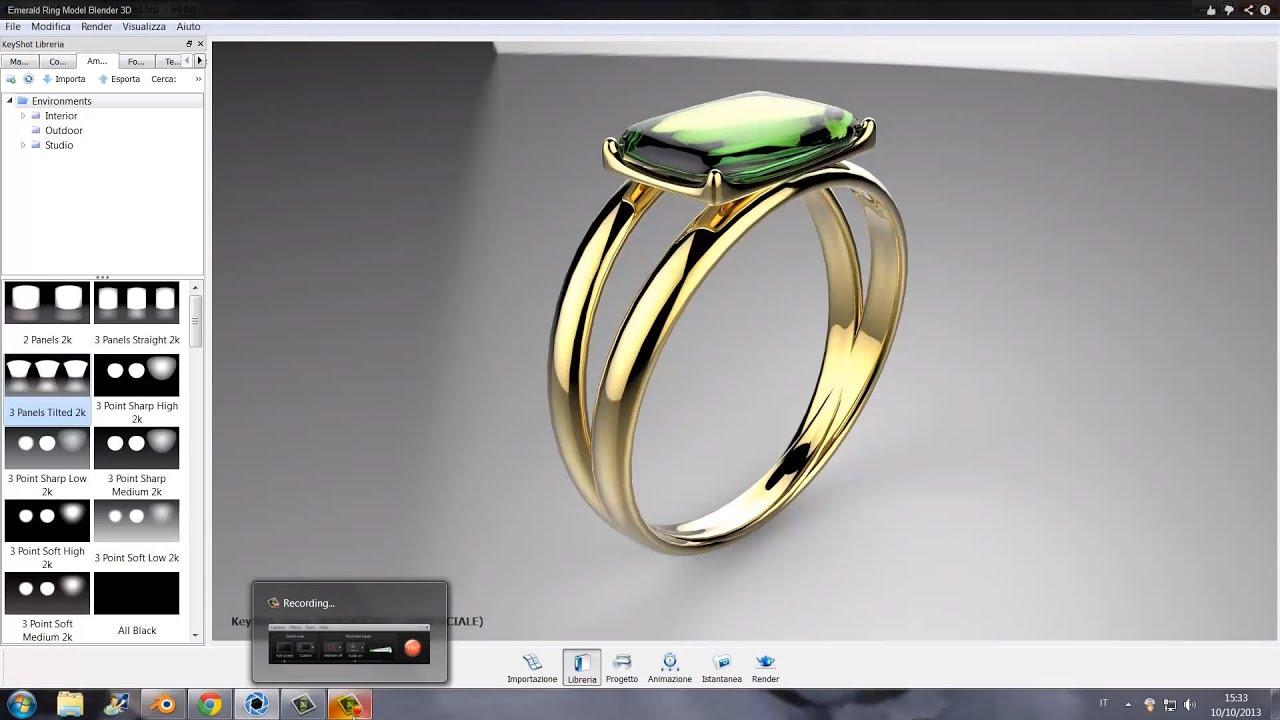 Emerald Ring Model Blender 3D KeyShot Render YouTube