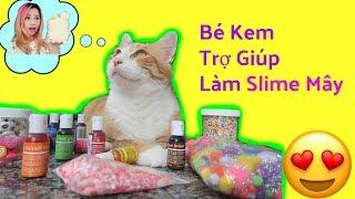 Thử Thách Bé Mèo Làm Slime _ My Cats help Me Make Slime
