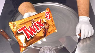TWIX - how t๐ make Chocolate Bar & Caramel Ice Cream | sweet & relaxing Ice Cream Rolls ASMR Recipe