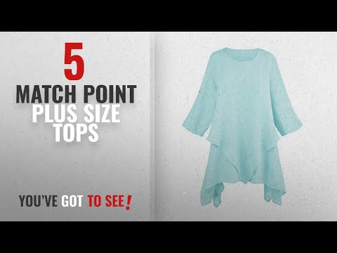 Match Point Plus Size Tops [2018]: Match Point Women's Layered Linen Tunic Top - Sharkbite Hem 3/4
