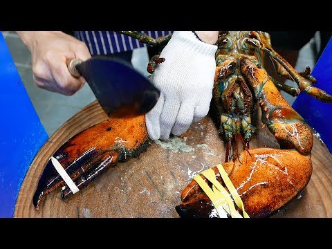 Thumbnail: Korean Street Food - GIANT LOBSTER SASHIMI Chili Butter Korea
