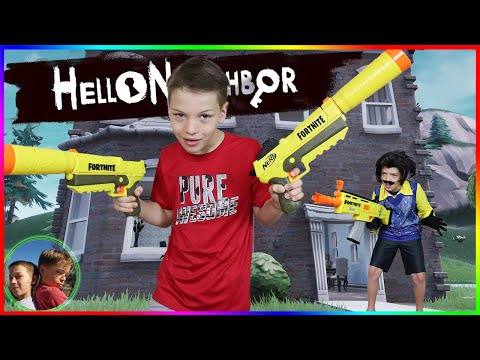 Hello Neighbor Plays Fortnite In Real Life! Fortnite Nerf Battle!