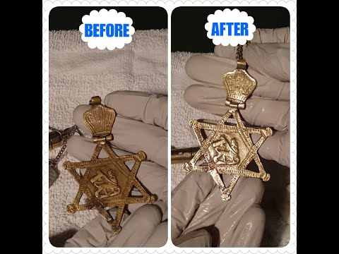 Polish/Clean Brass Star of David Necklace