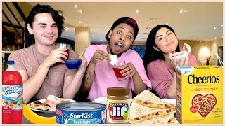 Adrienne Bailon Weird Food Challenge with Monica & Mikey   Cheat Day Chisme Episode 10
