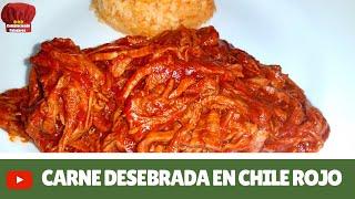 Carne desebrada ( de res) en chile rojo receta- Complaciendo Paladares