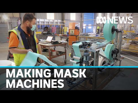 New machines 'built from nothing' in regional Vic help supply hospital workers with masks | ABC News from YouTube · Duration:  1 minutes 59 seconds