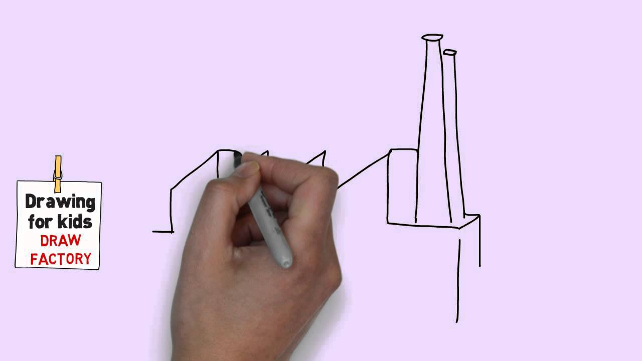 How to draw a factory easy for kids easy and simple drawing for kids youtube