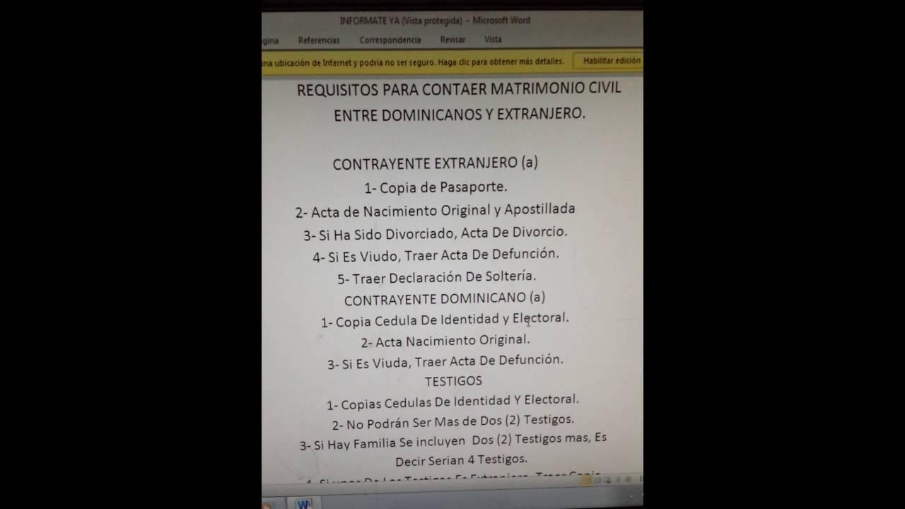 Los requisitos para contraer matrimonio civil entre un dominicano y extranjeros youtube - Requisitos para casarse ...