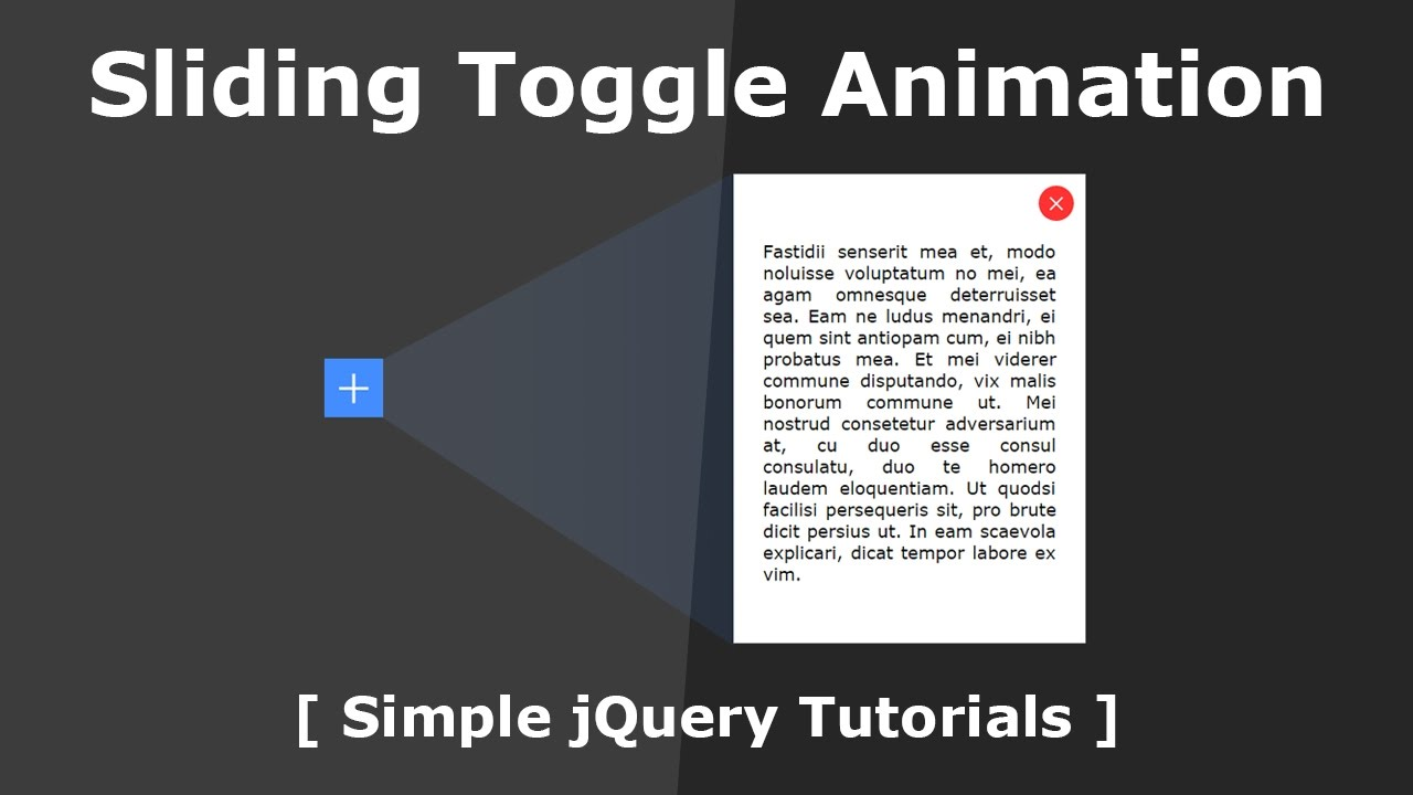 Sliding toggle animation with content box jquery tutorials transforming toggle icon youtube - Jquery toggle div ...