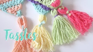 The tassle tutorial for my latest crochet-a-long (CAL) Summer Bunting! There will be 9 tutorials in total, 8 triangle patterns and 1 finishing pattern. You can use ...