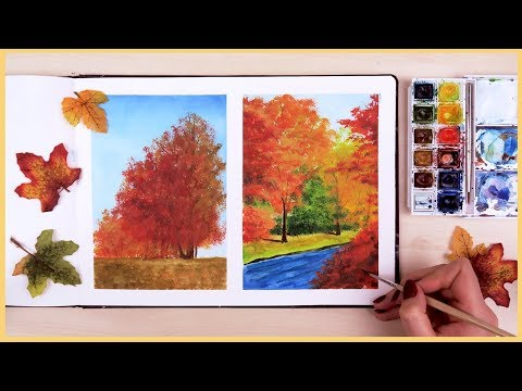 How to Paint a Fall ry with Watercolors for Beginners  Art Journal Thursday Ep. 18