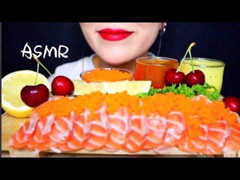【SALMON SASHIMI+FLYING FISH ROE】ASMR  MUKBANG  NO TALKING