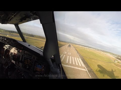 Boeing 737 Cockpit View  -  Landing In Leeds Bradford
