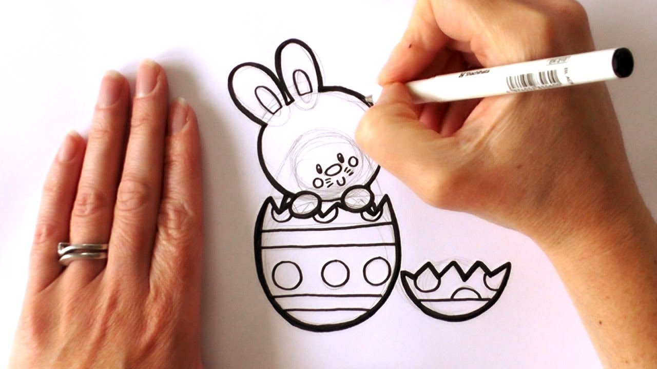 How To Draw A Cartoon Easter Bunny Popping Out Of An Easter Egg