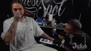 Post Malone gets tattooed by tattoo artist Victor Modafferi