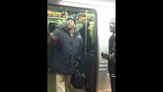 "Fight starts after man ""stole"" bum's bag on NYC train"