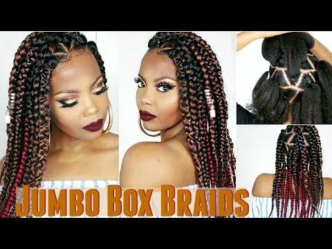 JUMBO BOX BRAIDS TUTORIAL | RUBBER BAND METHOD + DIY WHIPPED SHEA BUTTER TO GROW 4C HAIR | TASTEPINK