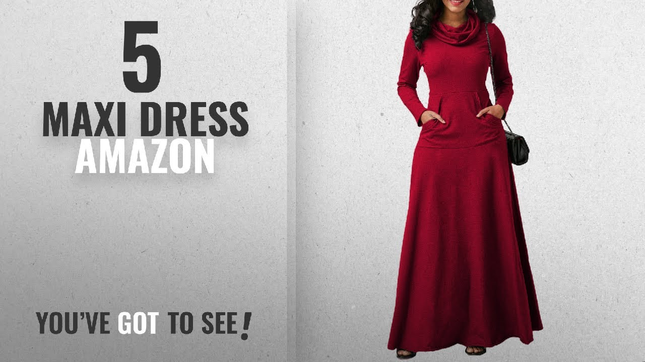 Top 10 Maxi Dress Amazon [ Winter 2018 ]: onlypuff Plus Size Women Maxi  Long Dress Cowl Neck Casual