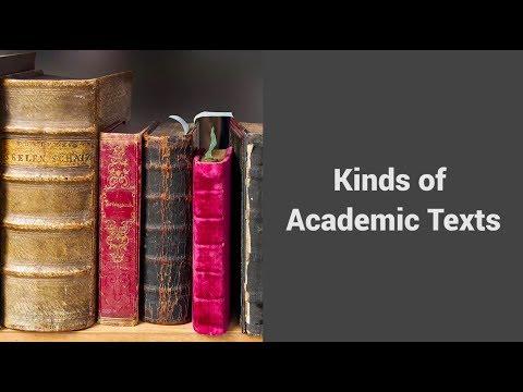 MOOC USSV101x | Hard Reading, Good Writing | Kinds of Academic Texts